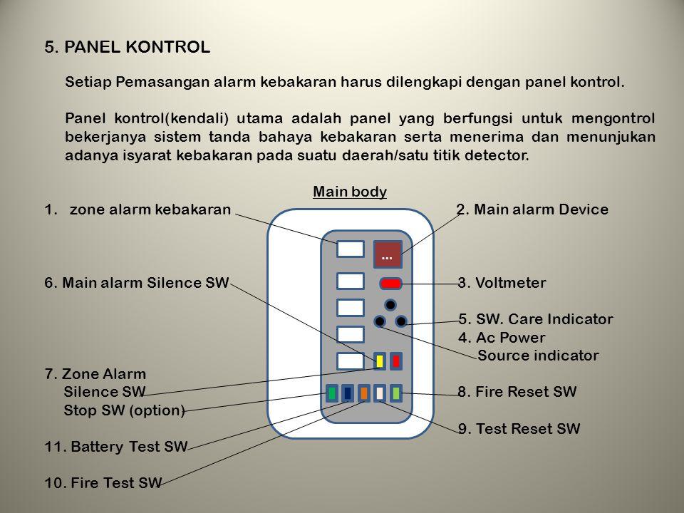 5. PANEL KONTROL Setiap Pemasangan alarm kebakaran harus dilengkapi dengan panel kontrol.