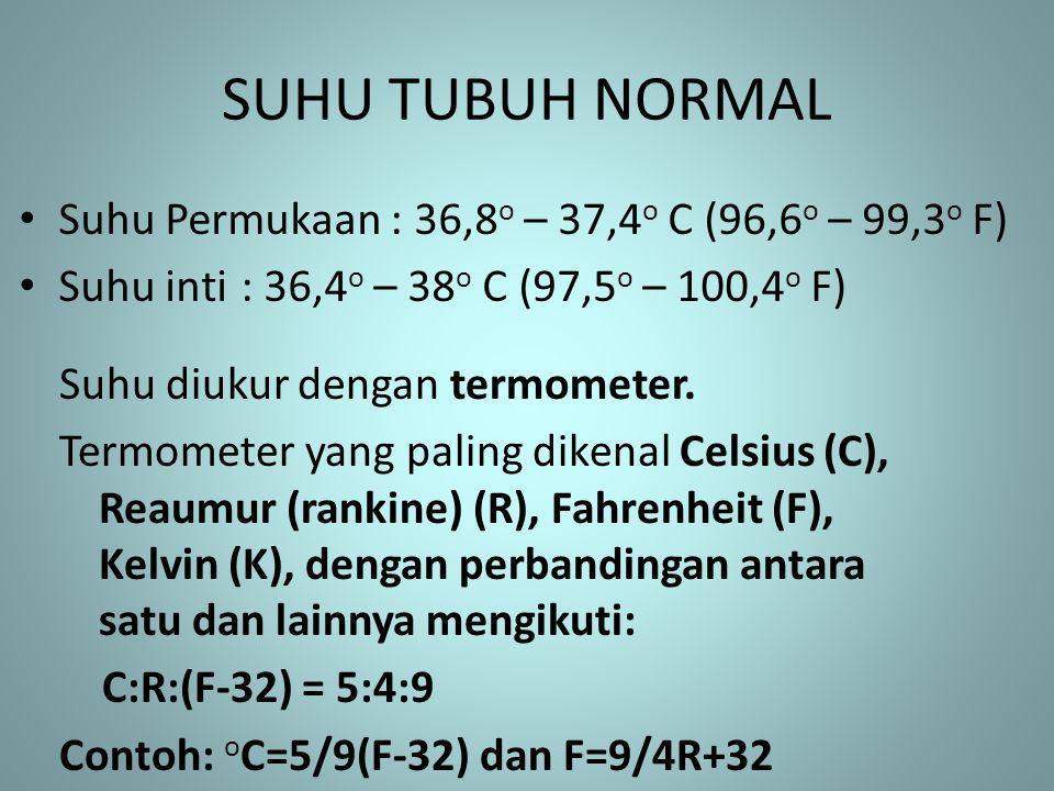 SUHU TUBUH NORMAL Suhu Permukaan : 36,8o – 37,4o C (96,6o – 99,3o F)