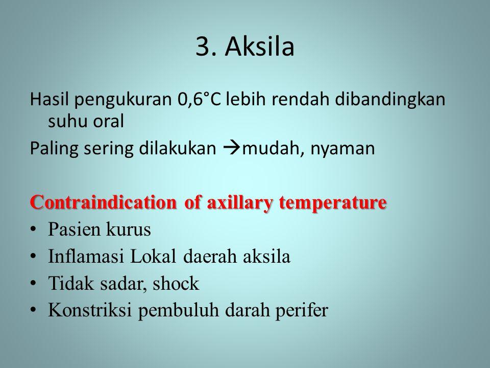 3. Aksila Hasil pengukuran 0,6°C lebih rendah dibandingkan suhu oral