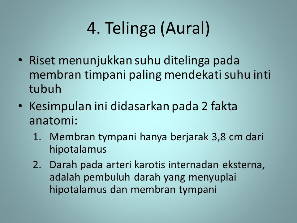 4. Telinga (Aural) Riset menunjukkan suhu ditelinga pada membran timpani paling mendekati suhu inti tubuh.