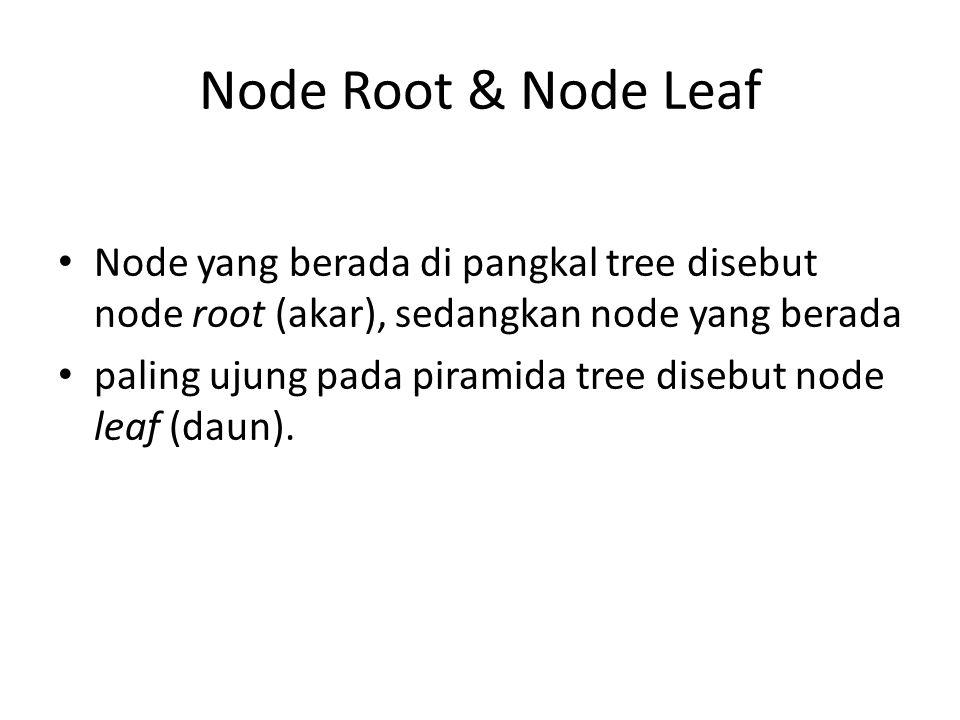 Node Root & Node Leaf Node yang berada di pangkal tree disebut node root (akar), sedangkan node yang berada.