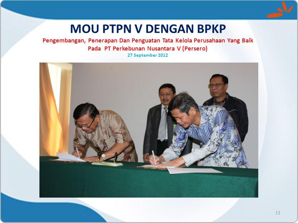 MOU PTPN V DENGAN BPKP Pengembangan, Penerapan Dan Penguatan Tata Kelola Perusahaan Yang Baik Pada PT Perkebunan Nusantara V (Persero) 27 September 2012