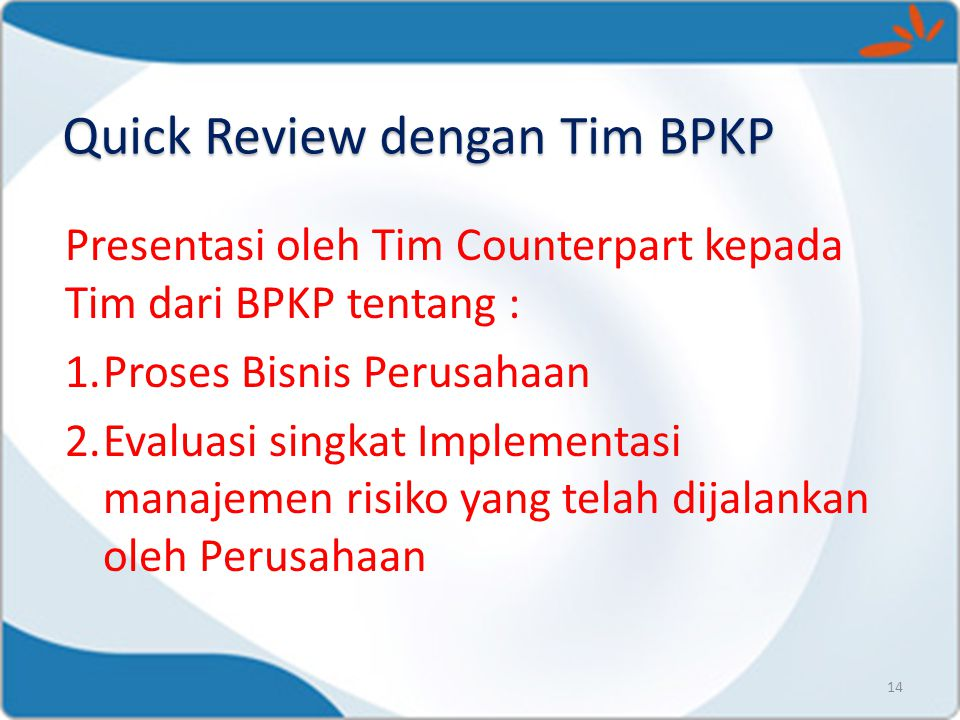 Quick Review dengan Tim BPKP