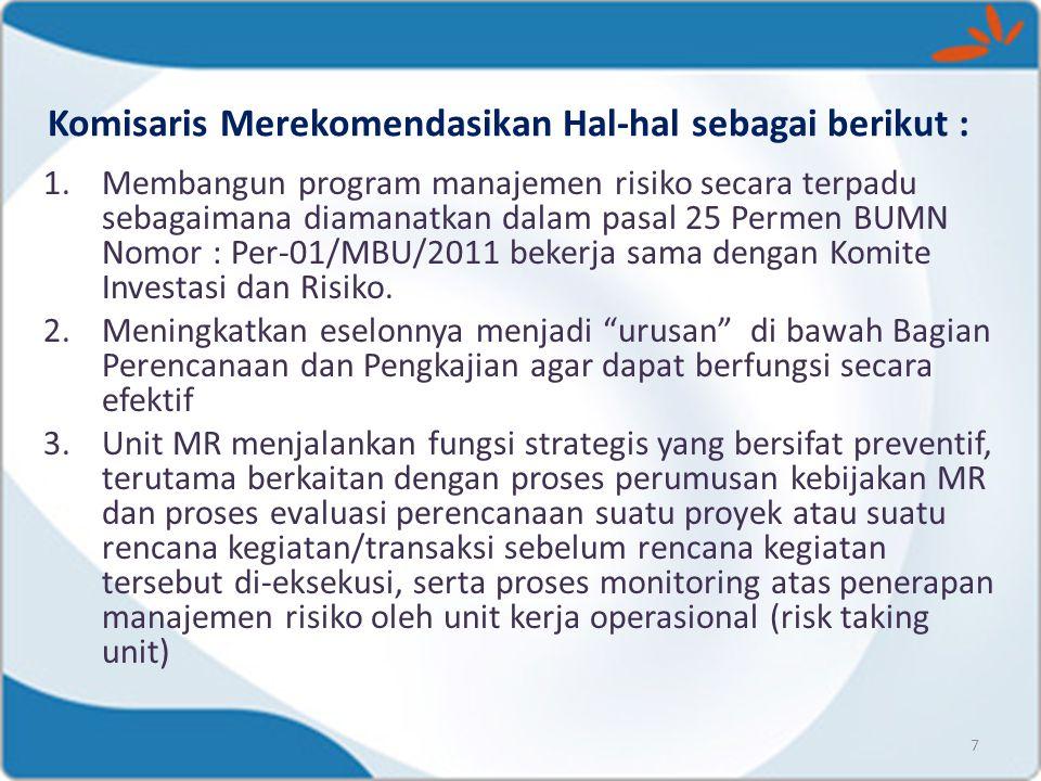 Komisaris Merekomendasikan Hal-hal sebagai berikut :