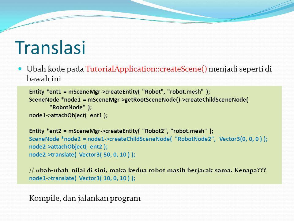 Translasi Ubah kode pada TutorialApplication::createScene() menjadi seperti di bawah ini.
