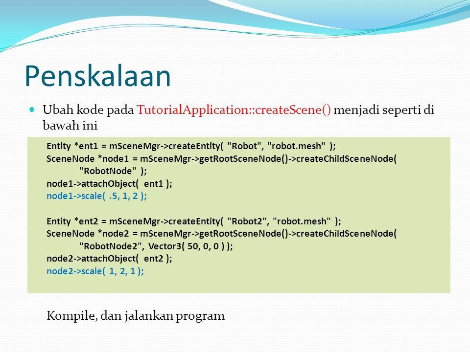 Penskalaan Ubah kode pada TutorialApplication::createScene() menjadi seperti di bawah ini.