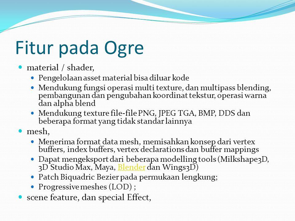 Fitur pada Ogre material / shader, mesh,