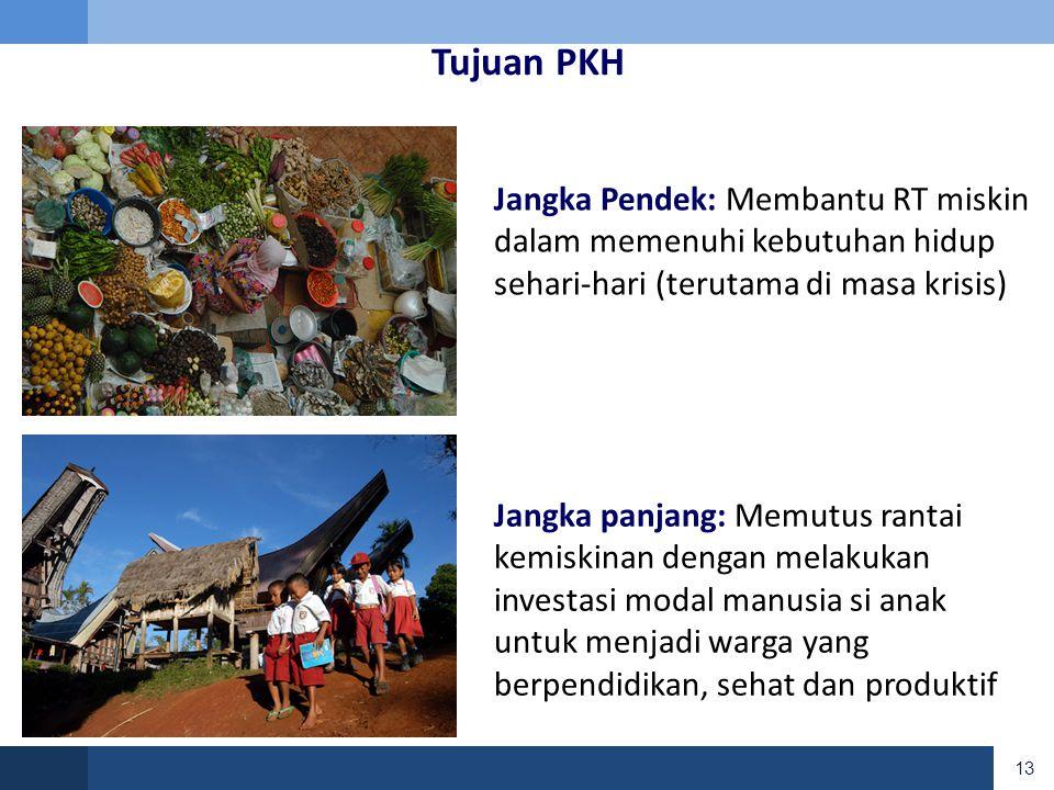 Tujuan PKH Jangka Pendek: Membantu RT miskin dalam memenuhi kebutuhan hidup sehari-hari (terutama di masa krisis)