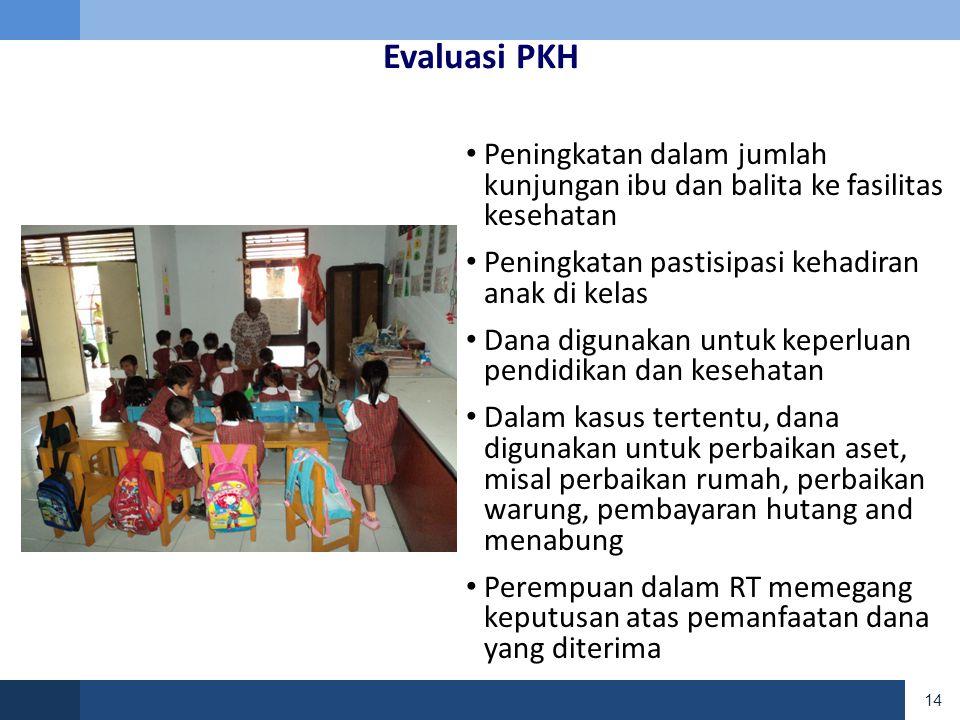 Evaluasi PKH Peningkatan dalam jumlah kunjungan ibu dan balita ke fasilitas kesehatan. Peningkatan pastisipasi kehadiran anak di kelas.