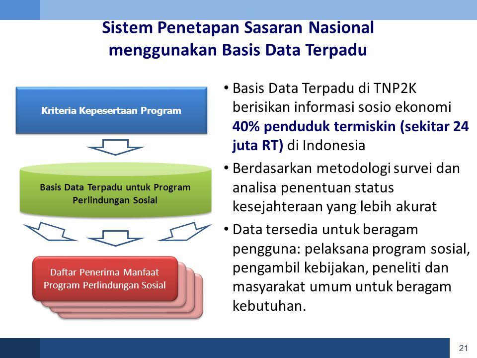 Sistem Penetapan Sasaran Nasional menggunakan Basis Data Terpadu
