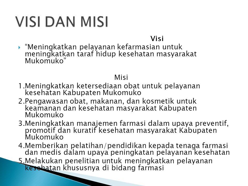 VISI DAN MISI Visi. Meningkatkan pelayanan kefarmasian untuk meningkatkan taraf hidup kesehatan masyarakat Mukomuko