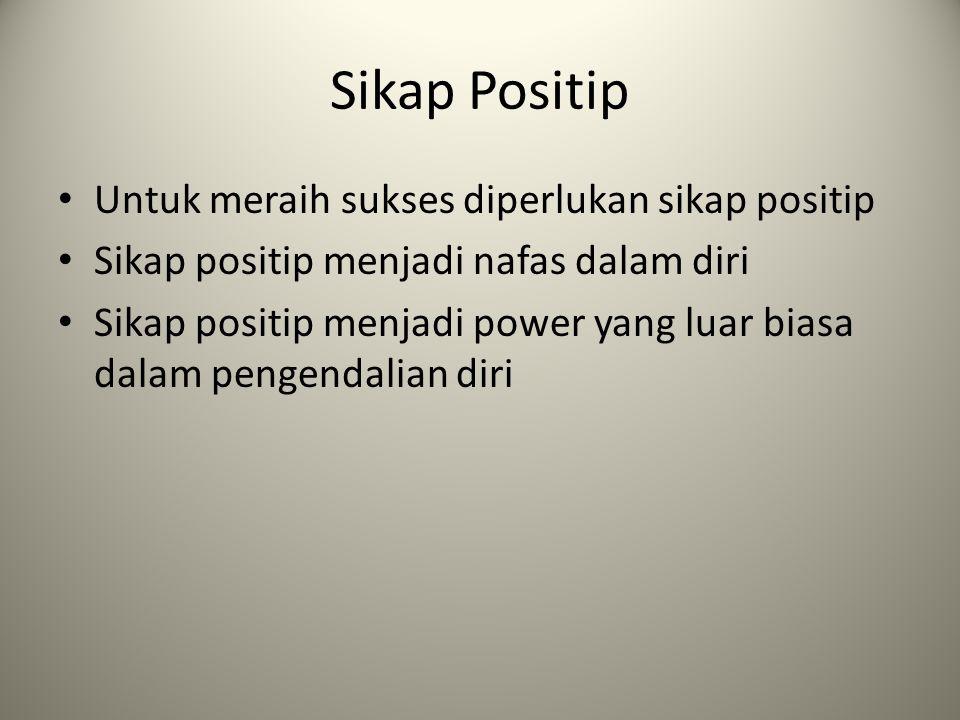 Sikap Positip Untuk meraih sukses diperlukan sikap positip
