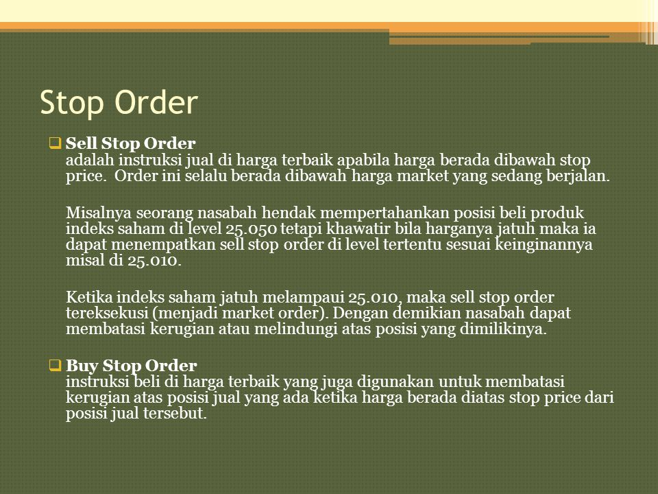 Stop Order