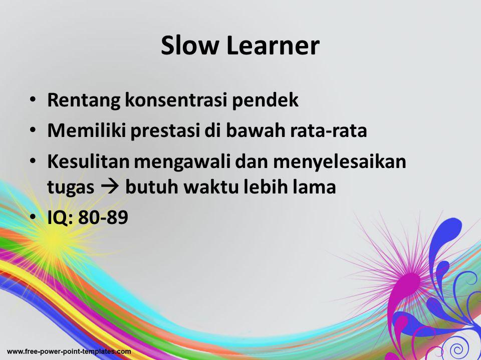 Slow Learner Rentang konsentrasi pendek
