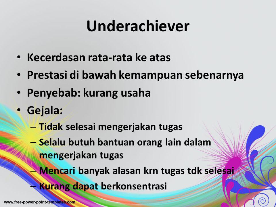 Underachiever Kecerdasan rata-rata ke atas