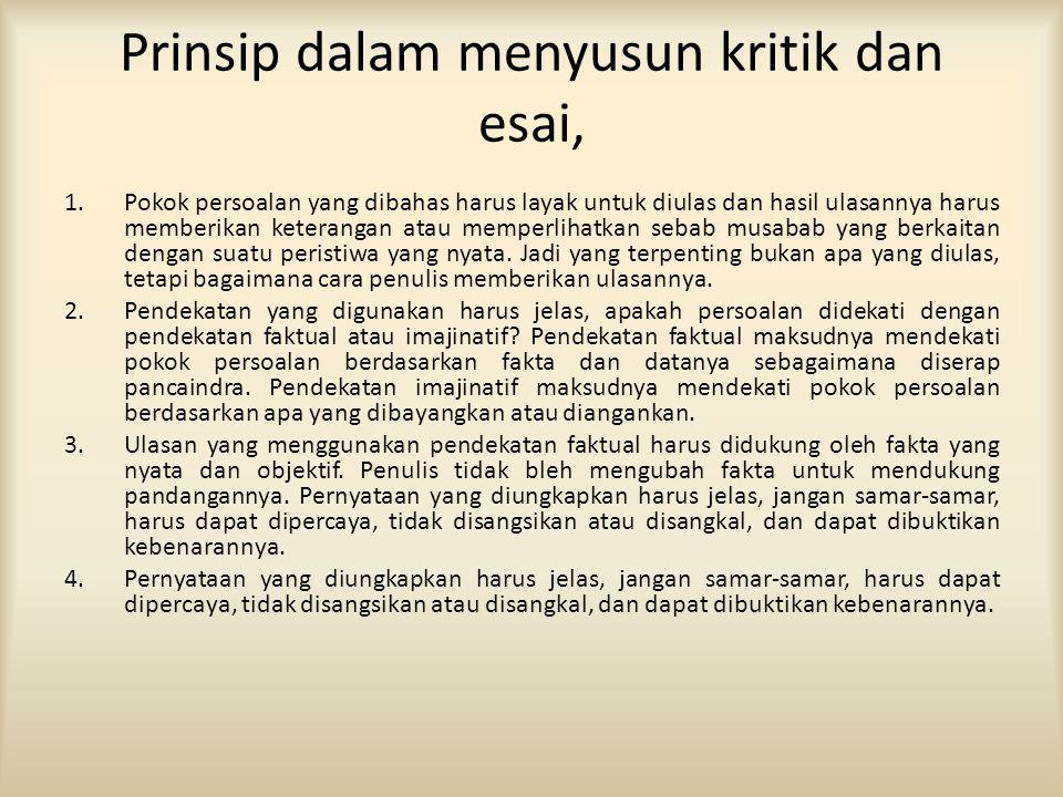 Prinsip dalam menyusun kritik dan esai,