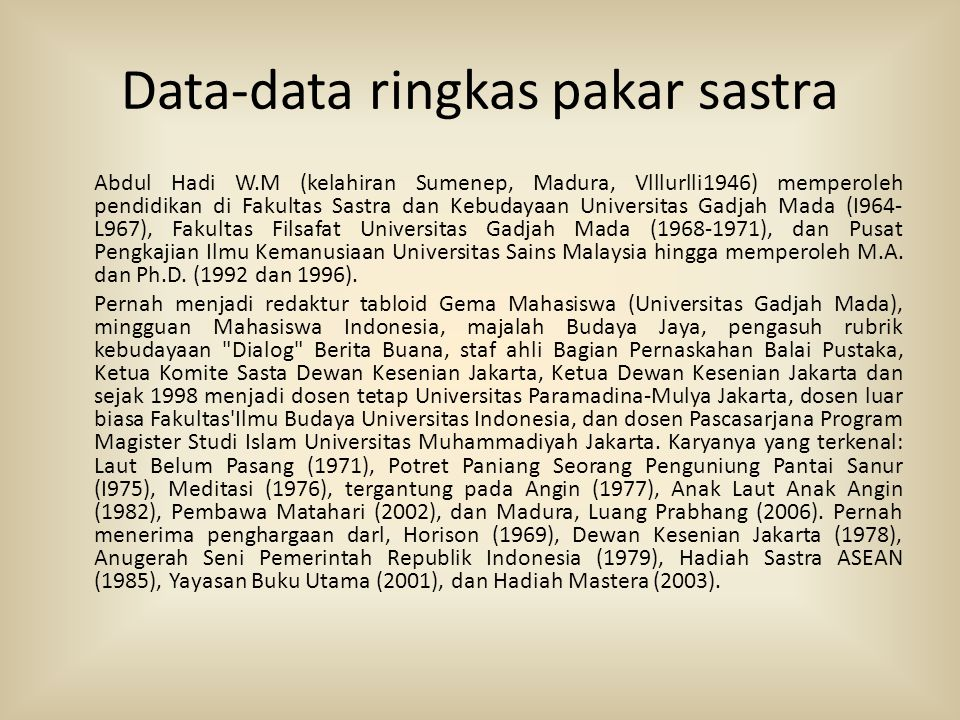 Data-data ringkas pakar sastra