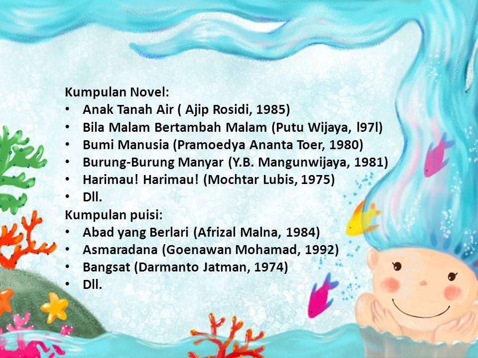 Kumpulan Novel: Anak Tanah Air ( Ajip Rosidi, 1985) Bila Malam Bertambah Malam (Putu Wijaya, l97l)