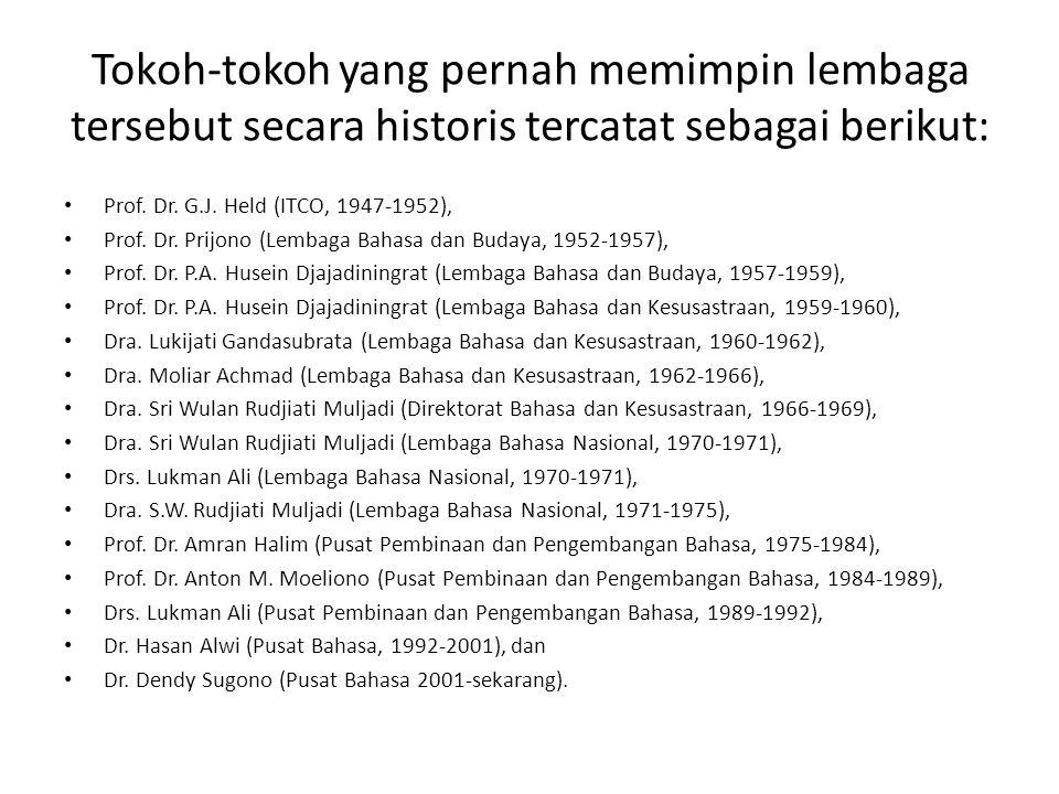 Tokoh-tokoh yang pernah memimpin lembaga tersebut secara historis tercatat sebagai berikut: