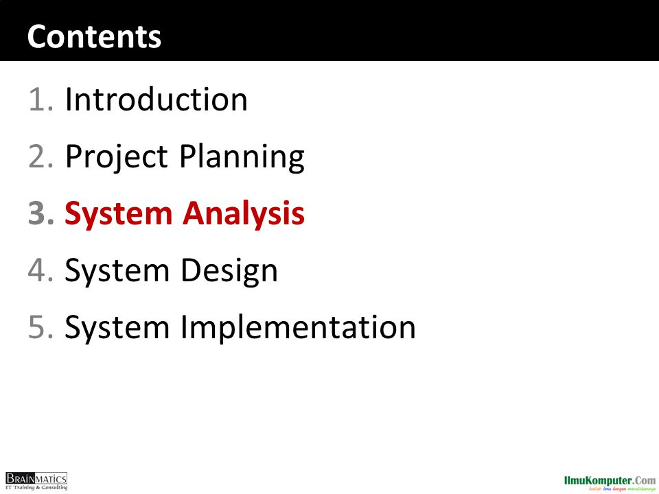 Contents Introduction Project Planning System Analysis System Design System Implementation