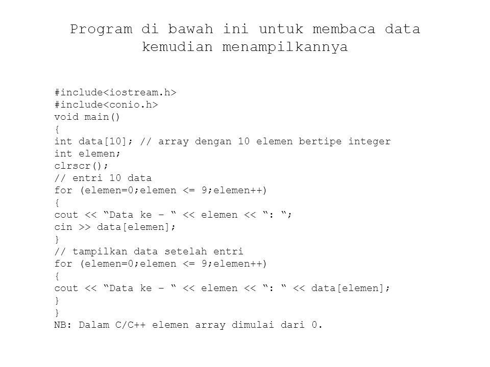 Program di bawah ini untuk membaca data kemudian menampilkannya