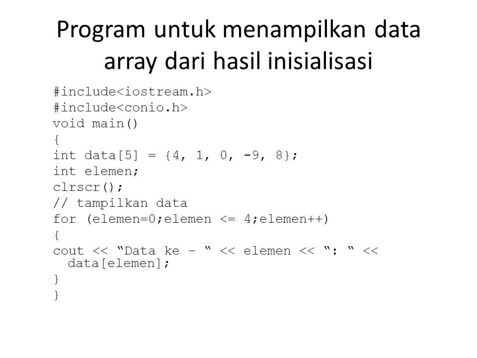 Program untuk menampilkan data array dari hasil inisialisasi