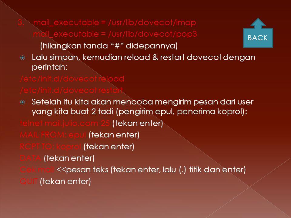 3. mail_executable = /usr/lib/dovecot/imap