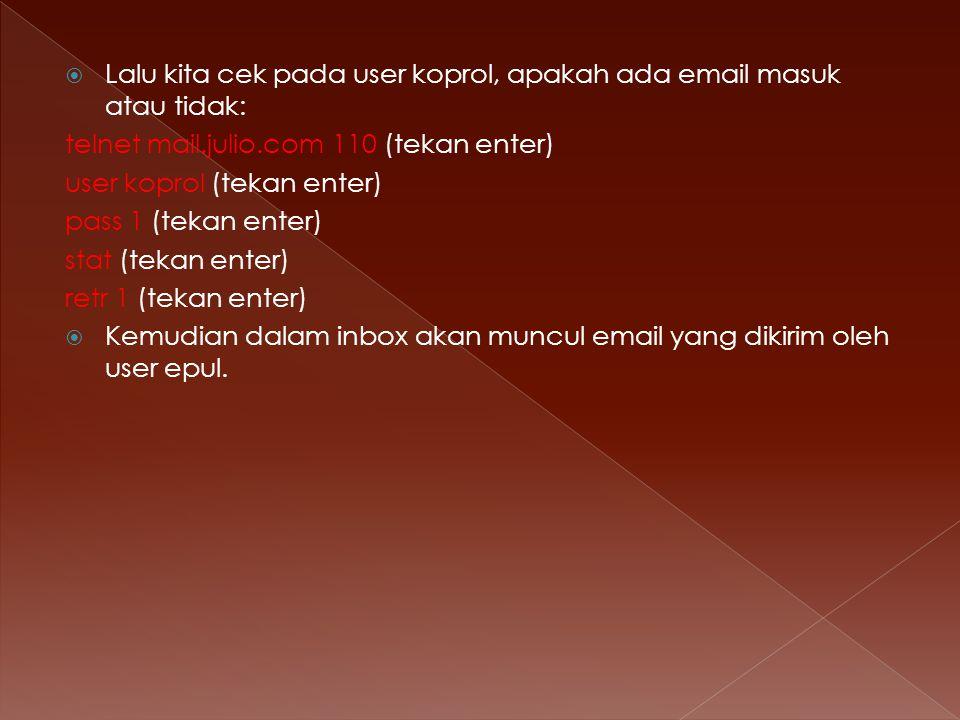 Lalu kita cek pada user koprol, apakah ada email masuk atau tidak: