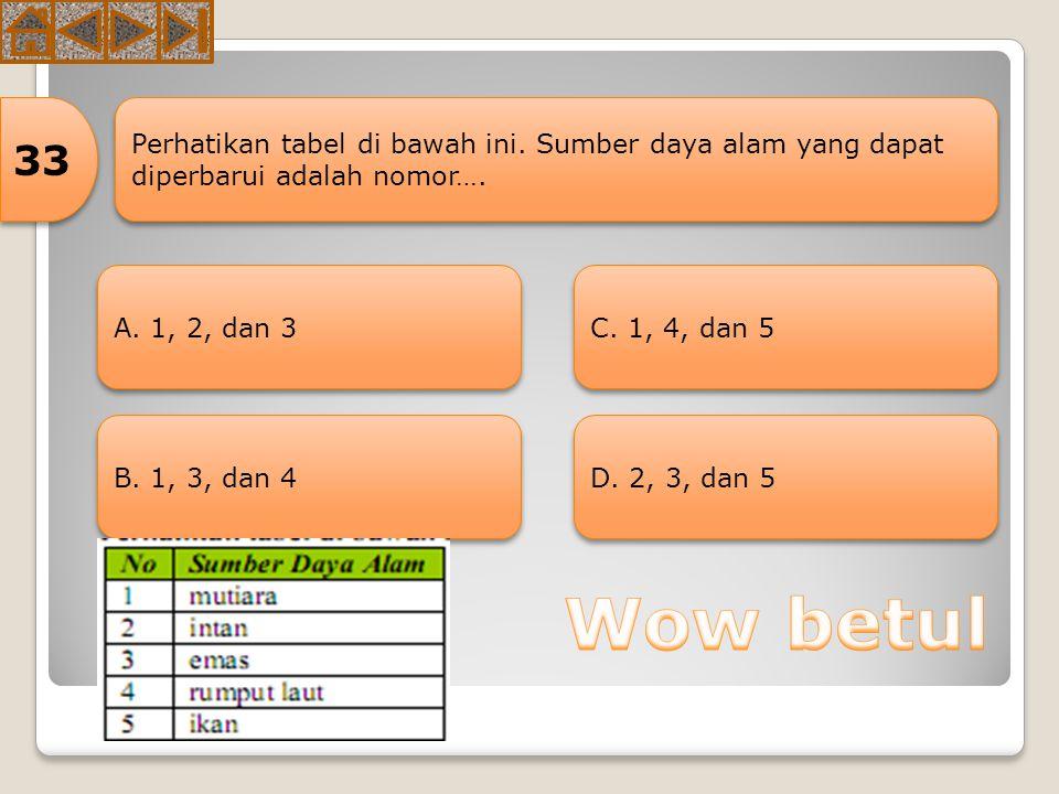 33 Perhatikan tabel di bawah ini. Sumber daya alam yang dapat diperbarui adalah nomor…. A. 1, 2, dan 3.