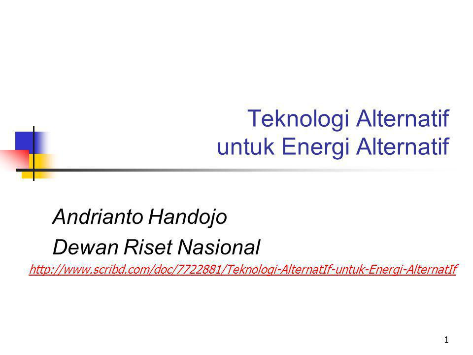Teknologi Alternatif untuk Energi Alternatif