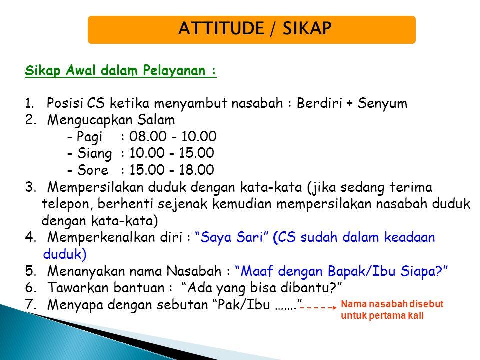 ATTITUDE / SIKAP Mengucapkan Salam - Pagi : 08.00 - 10.00