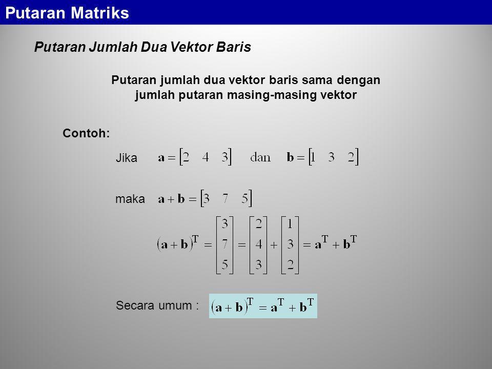 Putaran Matriks Putaran Jumlah Dua Vektor Baris