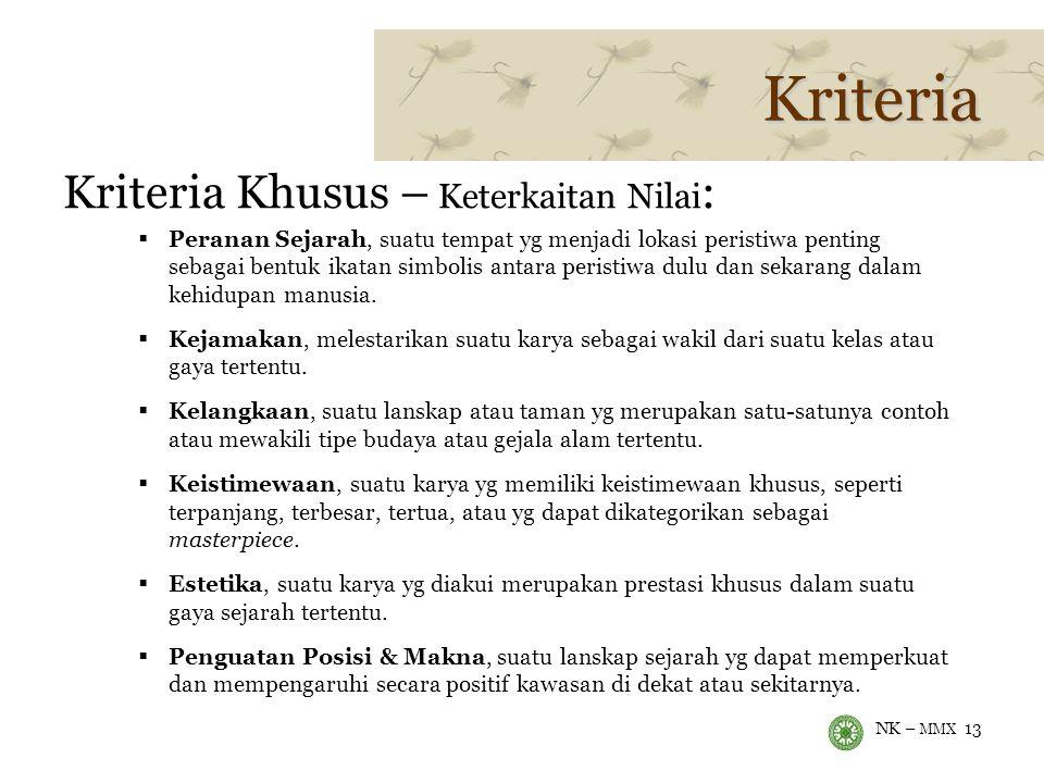 Kriteria Kriteria Khusus – Keterkaitan Nilai: