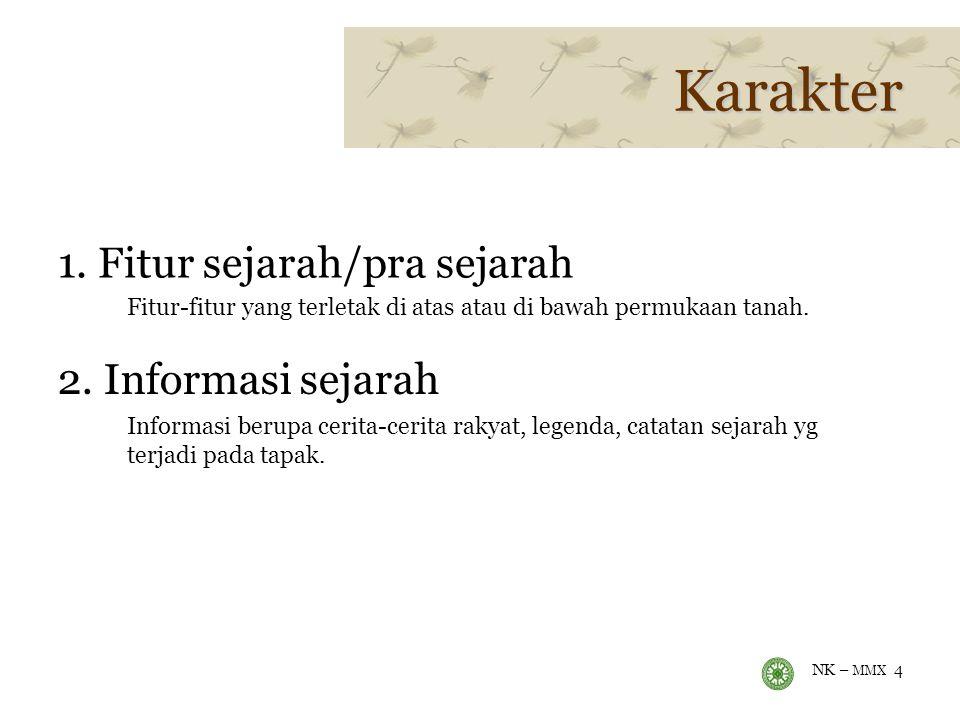 Karakter 1. Fitur sejarah/pra sejarah 2. Informasi sejarah
