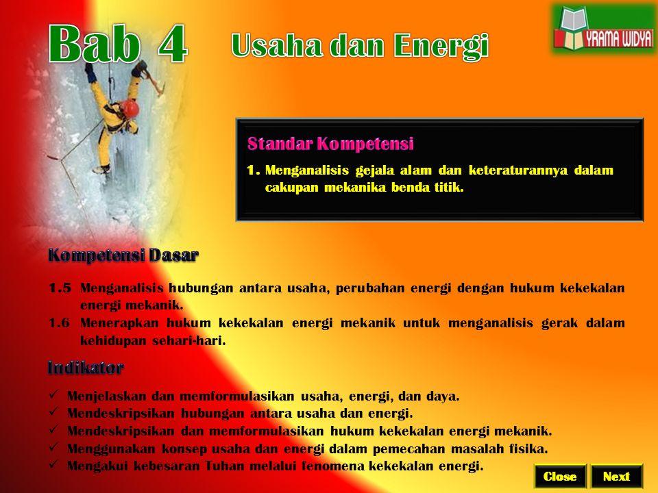 Bab 4 Usaha dan Energi Standar Kompetensi Kompetensi Dasar Indikator