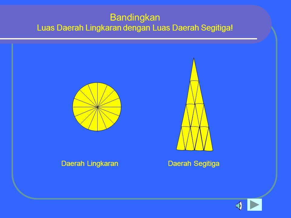 Bandingkan Luas Daerah Lingkaran dengan Luas Daerah Segitiga!