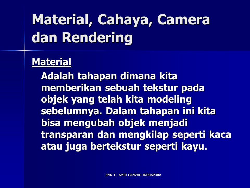 Material, Cahaya, Camera dan Rendering