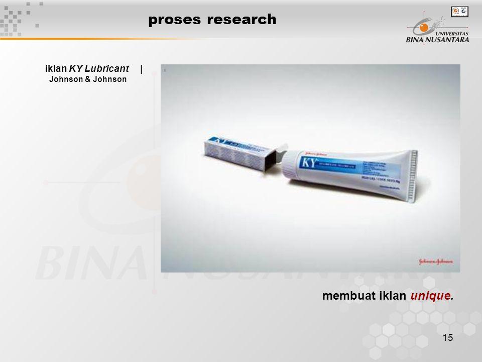 proses research membuat iklan unique. iklan KY Lubricant |