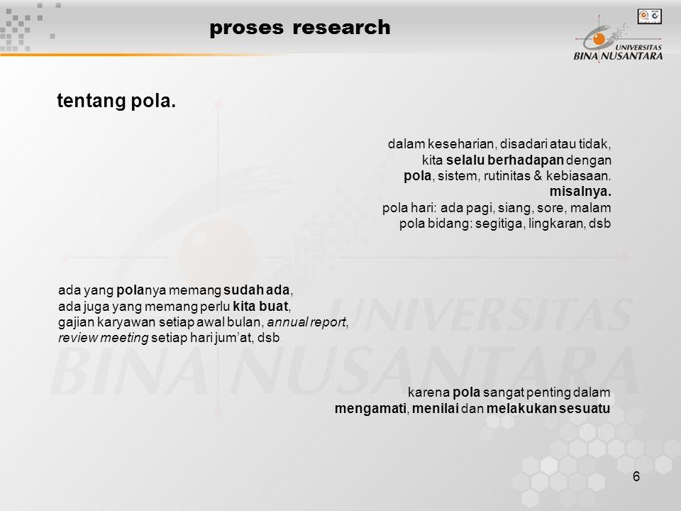 proses research tentang pola. dalam keseharian, disadari atau tidak,