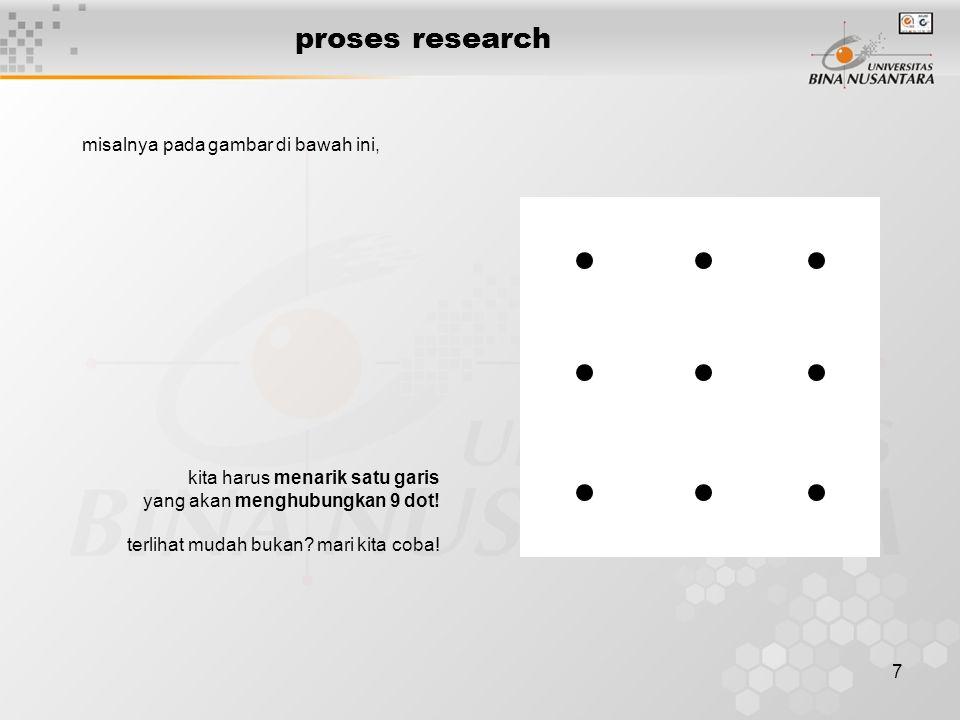 proses research misalnya pada gambar di bawah ini,