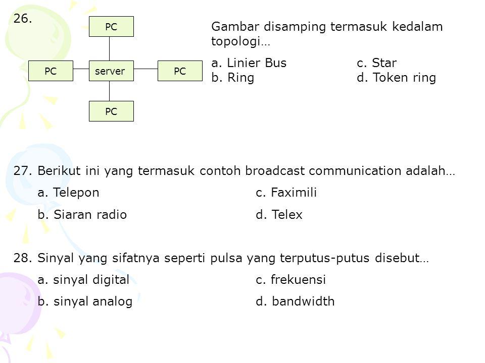 Berikut ini yang termasuk contoh broadcast communication adalah…