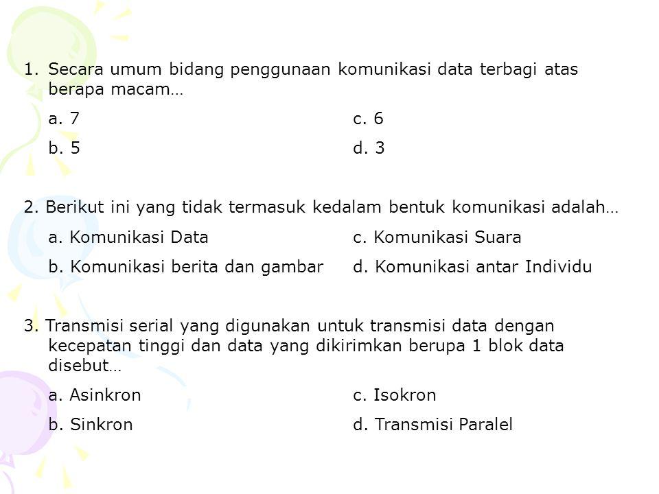 Secara umum bidang penggunaan komunikasi data terbagi atas berapa macam…