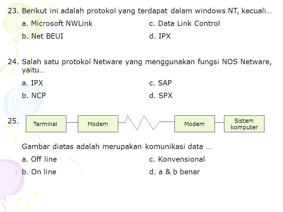 a. Microsoft NWLink c. Data Link Control b. Net BEUI d. IPX
