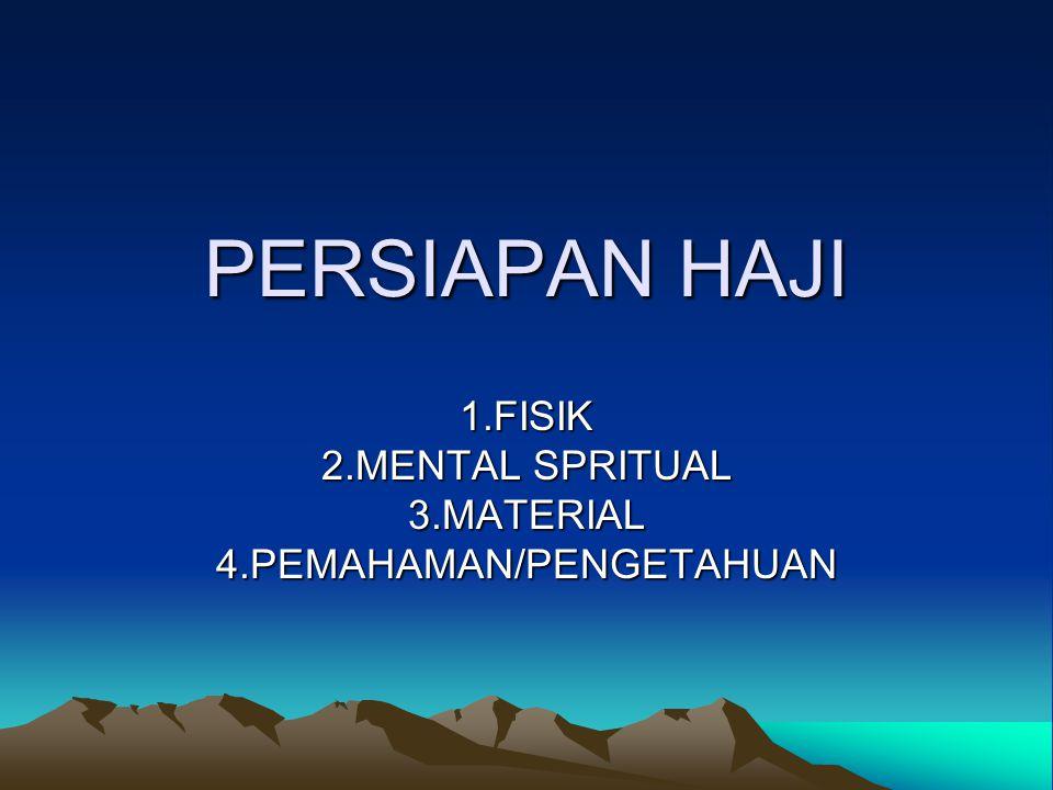 1.FISIK 2.MENTAL SPRITUAL 3.MATERIAL 4.PEMAHAMAN/PENGETAHUAN
