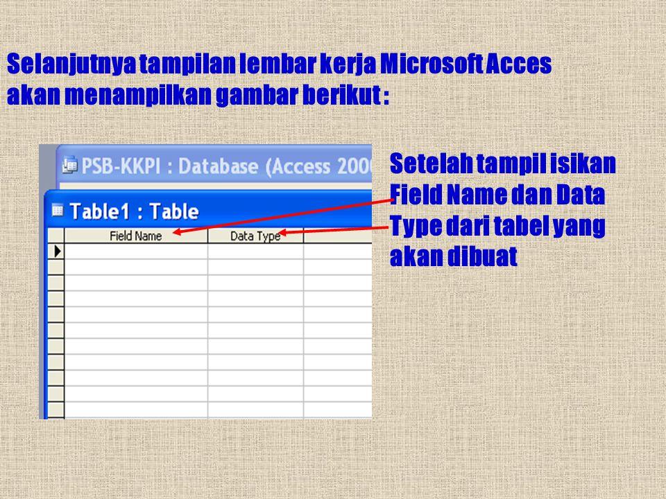Selanjutnya tampilan lembar kerja Microsoft Acces akan menampilkan gambar berikut :