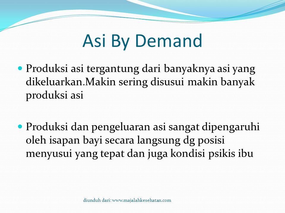 Asi By Demand Produksi asi tergantung dari banyaknya asi yang dikeluarkan.Makin sering disusui makin banyak produksi asi.