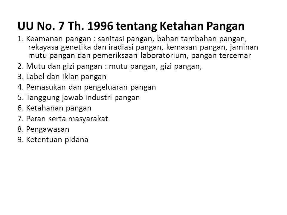 UU No. 7 Th. 1996 tentang Ketahan Pangan