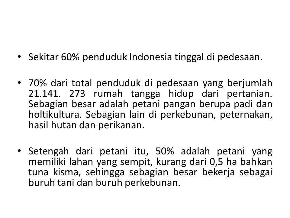 Sekitar 60% penduduk Indonesia tinggal di pedesaan.