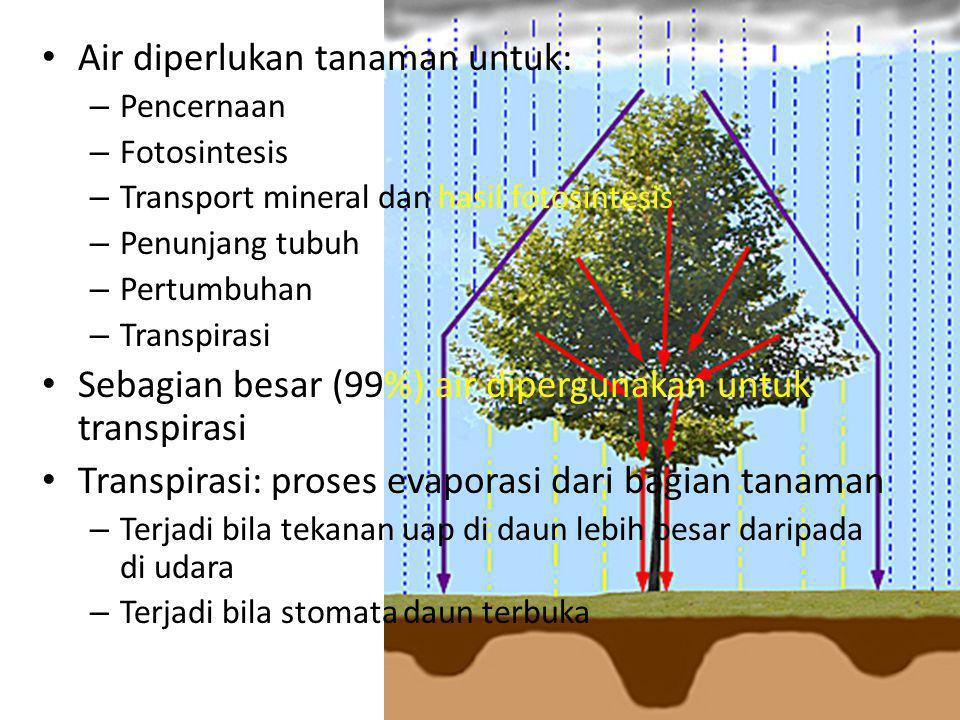 Air diperlukan tanaman untuk: