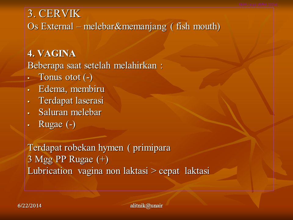 3. CERVIK Os External – melebar&memanjang ( fish mouth) 4. VAGINA
